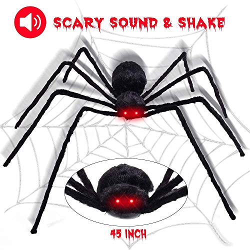 Giant Spider - Giant Spider Decor Scary Furry 43inch Creepy Spider, Hairy Giant Spider Toys For Horror Theme Party Joking Toys Red Eyes and Adjustable Legs ()