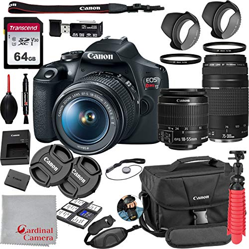 Canon EOS Rebel T7 18-55mm f/3.5-5.6 is II + 75-300mm f/4-5.6 III Kit + 64GB SD Card + Case (21pc Bundle)