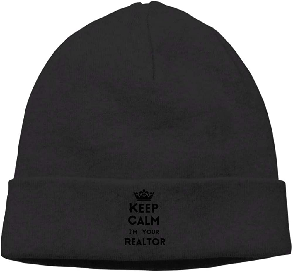 nordic runes Keep Calm Im Your Realtor Logo Beanie Hat Winter Warm Knit Skull Cap for Mens//Womens