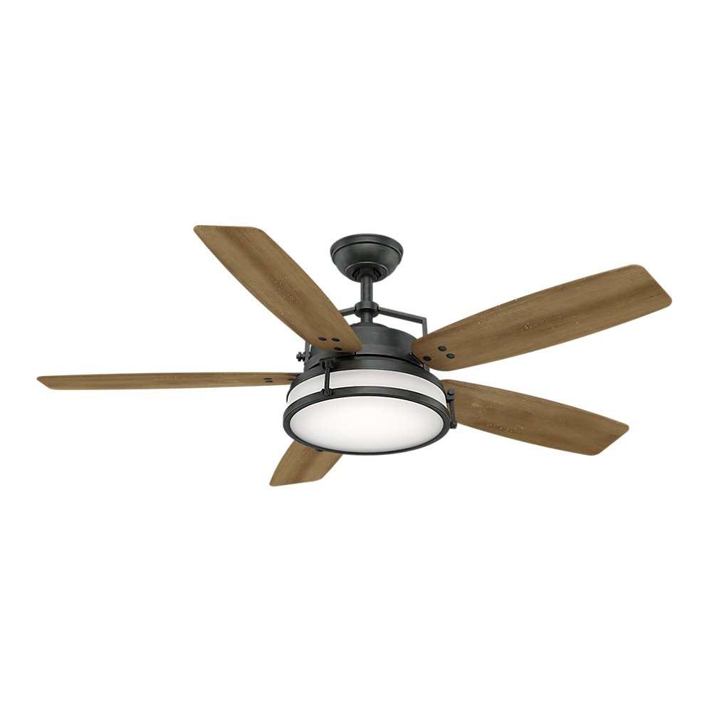 Casablanca 59113 Caneel Bay 56 Inch Maiden Steel Finish Fan With Integrated Light Kit Cased White Glass Com