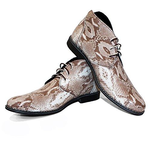 Modello Korbo - Handmade Italiano da Uomo in Pelle Grigio Chukka Boots - Vacchetta Pelle in Rilievo - Allacciare