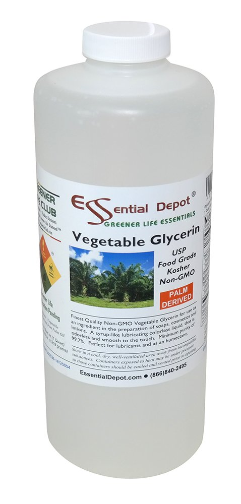 Glycerin Vegetable - 1 Quart (43 oz.) - Non GMO - Sustainable Palm Based - USP - KOSHER - PURE - Pharmaceutical Grade by Essential Depot