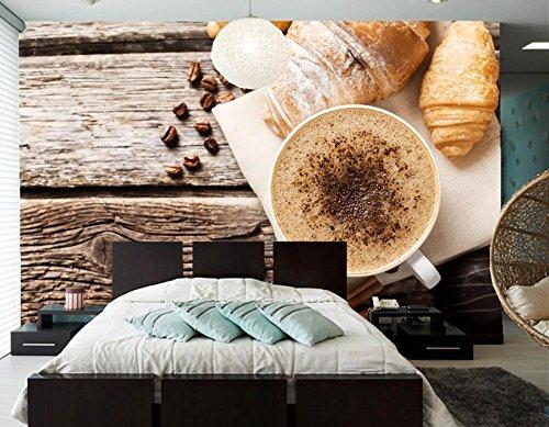 PORP 3D tapete Dining Croissant Coffee 250cmX175cm Food Cinnamon Cup Bar Shop Room Coffee Grain WH dqpfp