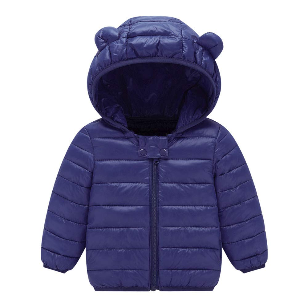 Kolylong Baby Coats 1-4 Years, Chlidren Boys Girl Winter Coats Jacket Kids ZipThick Ears Snow Hoodie Clothes