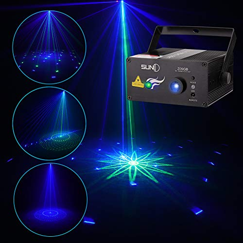 SUNY Laser Lighting 8 Big Patterns Green Blue Laser Lights Blue LED Light for Party Music Laser Projector Sound Activated Stage Lighting Remote Controller Dance Home Decorative Xmas Holiday DJ Light S
