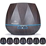 Miserwe Diffuser 550ML Adjustable Mist Aromatherapy Essential Oil Diffuser for Home Yoga Office Spa and Baby Room Waterless Auto Shut-off Oil Diffuser with 4 Timer Setting 7 LED light