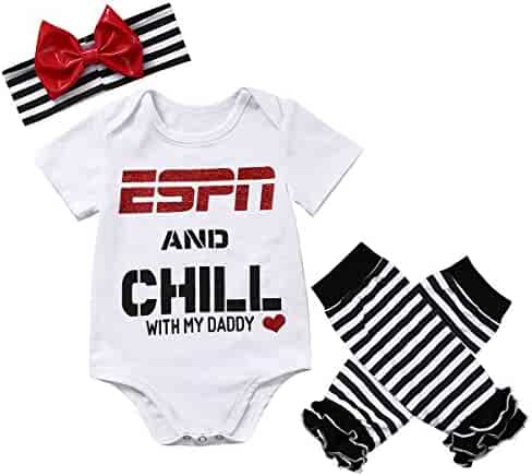 12912a269 ABEE Baby Girls ESPN Chill My Daddy Mommy Bodysuit Socks Outfit Headband