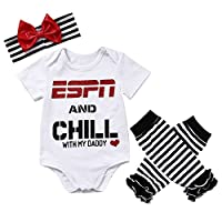 Baby Girls ESPN and Chill with My Daddy Bodysuit and Socks Outfit with Headba...