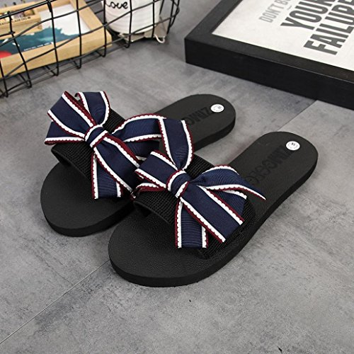 Digood Pantoffels Voor Dames, Dames Tiener Meisjes Effen Strik Decor Open Teen Flats Sandalen Schoenen Blauw