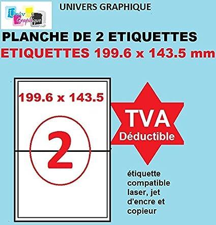 100 A4 hoja 2 pegatina 199,6 x 143,5 mm adhesivo de la etiqueta de papel etiqueta para una impresora de chorro de tinta y láser