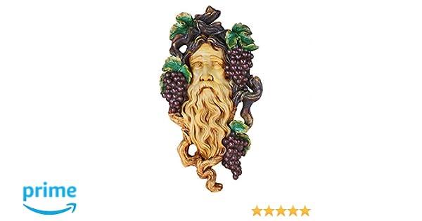 French Legend Grape Harvest Greenman God of Wine Vintage Wall Decor Sculpture