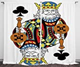 Satin Window Drapes Curtains [ King,King of Clubs Playing Gambling Poker Card Game Leisure Theme without Frame Artwork,Multicolor ] Window Curtain Window Drapes for Living Room Bedroom Dorm Room Class