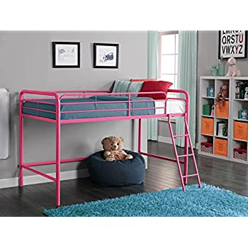 Amazon Com Dhp Junior Loft Bed Frame With Ladder Pink Kitchen