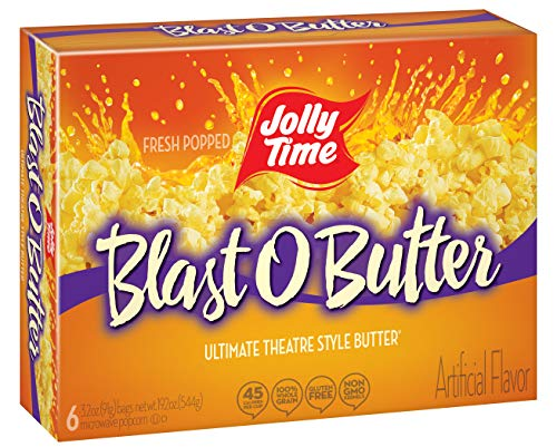 JOLLY TIME Blast O Butter   Ultimate Movie Theater Style Microwave Popcorn with Extra Buttery Flavor, Palm Oil, Salt and Non-GMO Kernels (6-Count Boxes, Pack of 6)