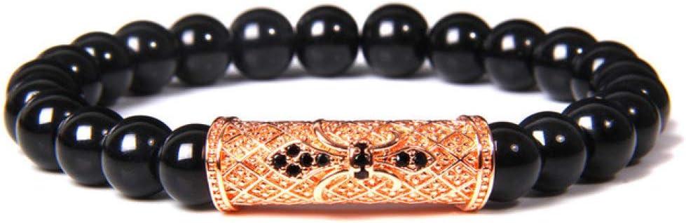 Pulsera de piedra para hombre, diseño clásico de ónix natural, cuentas de piedra de ojo de tigre, para mujeres y hombres, pulseras de yoga