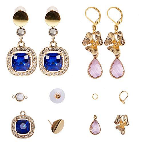 SUNNYCLUE DIY 2 Pairs Fashion Golden Tone Brass Faceted Gemstone Rhinestone Teardrop Dangle Stud Earrings Jewelry Making Starters Kit for Beginners, Nickle Free, ()