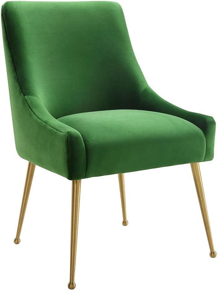 Tov Furniture The Beatrix Collection Modern Style Living Room Velvet Upholstered Side Chair, Green