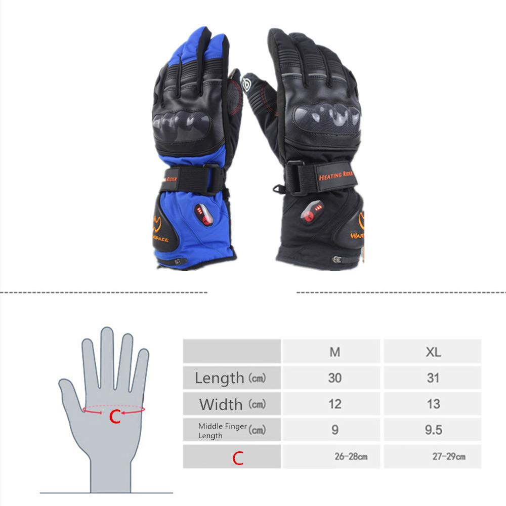 Touchscreen-beheizte Handschuhe mit wiederaufladbarem Li-Ion-Akku für Männer und Frauen, für warme Handschuhe für Frauen, das Radfahren Motorrad Wandern Skifahren Bergsteigen (Farbe : Blau, Größe : M) fa1b3c