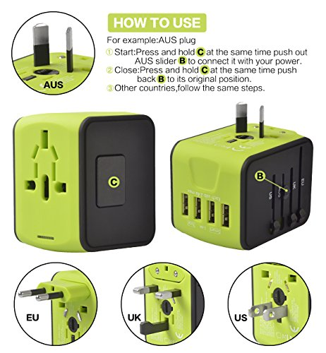 Universal Power Adapter Worldwide Wall Outlet AC Plug 4 USB Charging Ports with 3.4A Smart Power, All in One International Travel Adapter for US UK EU AUST Cell Phone Tablet Laptop Safety Fused, Blue by Poppin Kicks (Image #5)