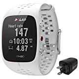 Polar M430 Advanced Running GPS Watch with Wrist-based Heart Rate Monitor and Wearable4U Wall Charging Adapter Bundle (White)
