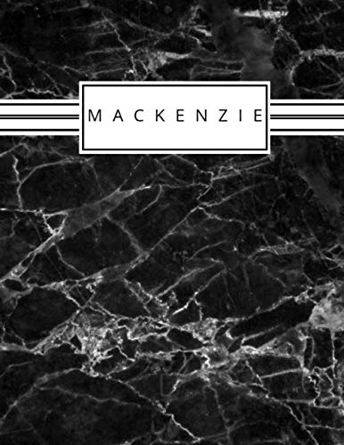 Mackenzie: Personalized black marble sketchbook with name: 120 Pages