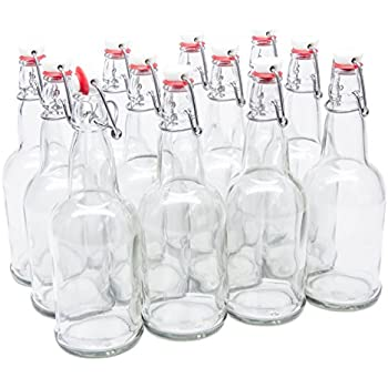 North Mountain Supply 16 oz Clear Glass Grolsch-Style Beer Brewing Fermenting Bottles - With Ceramic Swing Top Caps - Case of 12