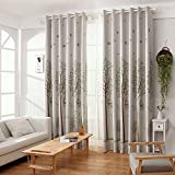 Cheap WPKIRA Fresh Forest Light Block Window Cover Birdcage Forest Birds Trees Printed Thermal Insulated Half Blackout Curtain Drapes Panel Grommets Window Treatments for Bedroom, 1 Panel W75 x L96 inch