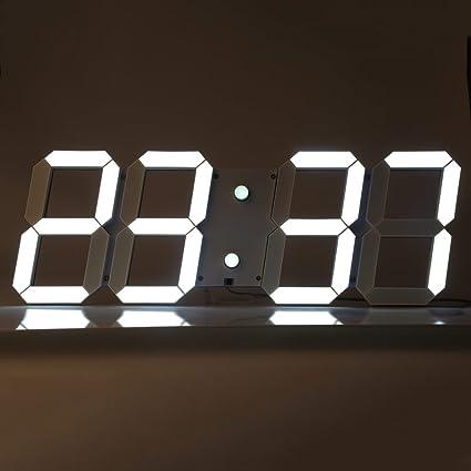 SmartLife Reloj de Pared Digital Grande LED Control Remoto con Configuración de Hora Alarma Calendario Termómetro