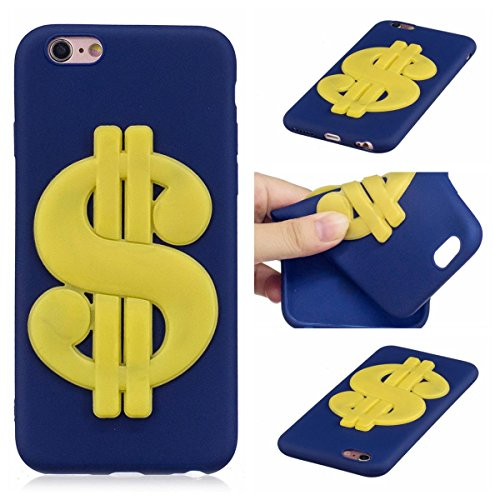 Funda iPhone 6 Plus Silicona, Carcasas iphone 6S Plus Case Cover Dibujos Animados Flexible TPU Opaco Ultra Delgado Ultra Ligero Goma Caja Suave Gel Shock-Absorción,Anti-Arañazos y Anti-Choque Bumper P Dólar