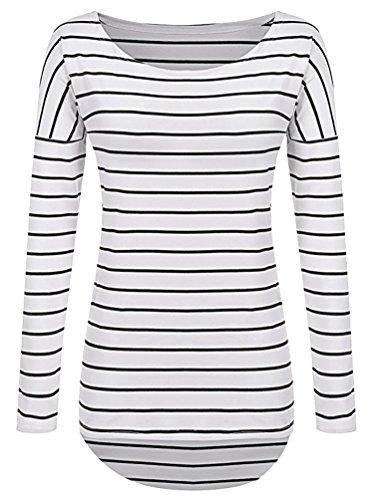 Sentao Mujer Camiseta Mangas Largas Elegante Raya Casual Camisa Blusa De Moda Tops Cuello Redondo Blanco