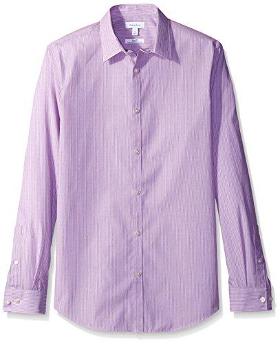 Calvin Klein Men's Slim Fit Stripe Long Sleeve Non-Iron Button Down Shirt, Purple Topaz, (Calvin Klein Purple Stripe)