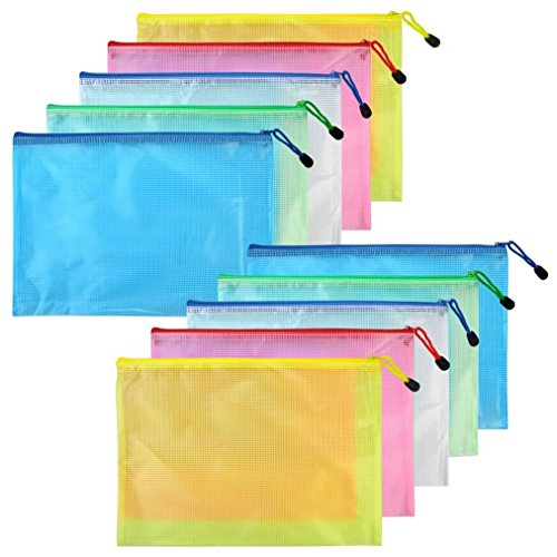 10 pcs A5 Zipper File Bags, baotongle Zippered Waterproof PVC Pouch Plastic Zip Document Filing Folder 5 Colors