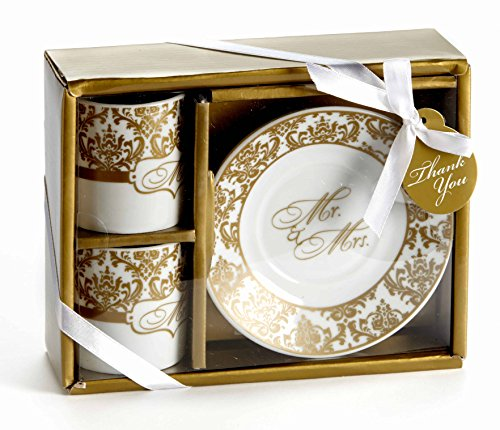 Artisano Designs A92026 Mr. & Mrs. Espresso Cup Set (Set of 2), Gold