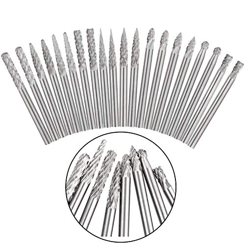 Tungsten Carbide Burr Set of 20, STARVAST Double Cut Rotary Burr Set with 3mm Head Size and 1/8 Shank Die Grinder Bits Rotary Files for Metal Carving, Polishing, Engraving, Drilling ()