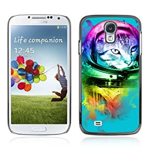 Designer Depo Hard Protection Case for Samsung Galaxy S4 / Neon Astronaut Cat