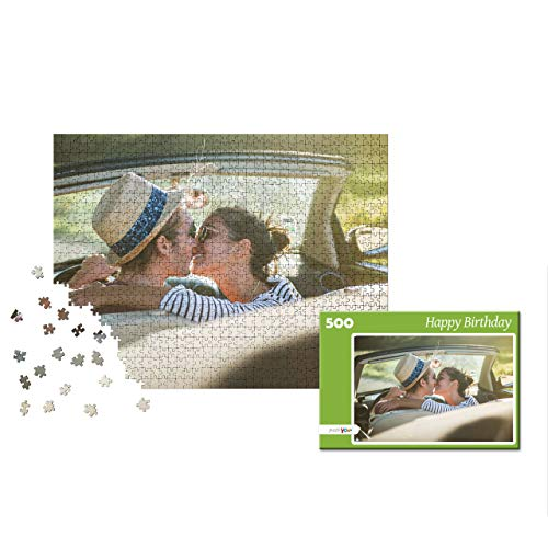puzzleYOU Photo Puzzle with 500 Pieces: Custom Puzzle with Your Image and an Individual give-Away Puzzle Box (Green)