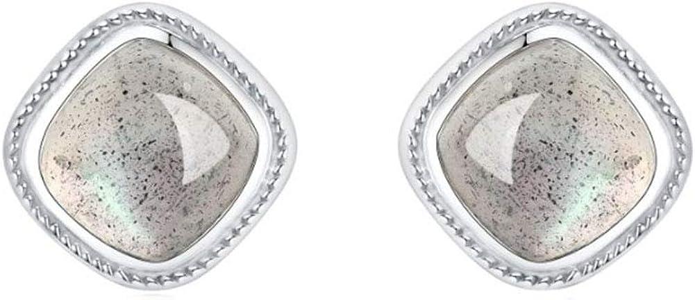 MIYUAN Pendientes de tuerca de plata de ley 925 con piedra lunar sintética cuadrada retro para niña