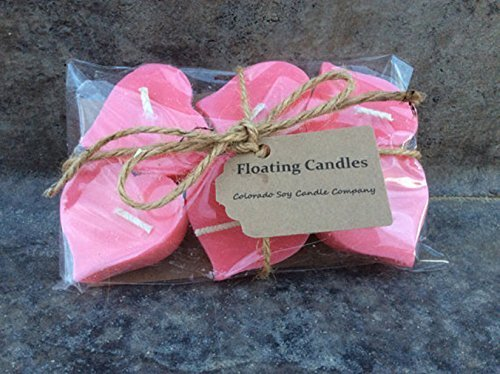 Floating candles. Wedding candles. Wedding centerpieces. Soy candles. Floating Hearts. Pink Candles.