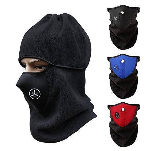 CUGBO Unisex Windproof Half Face Mask Ski Mask Neck Warmer Cold Weather Mask for Motorcycles, Bicycle, Skiing, Running, Mountain Climbing (Red+Blue+Black)