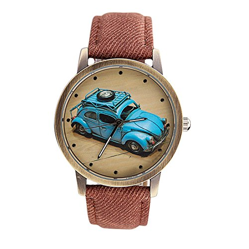 Clearance! Charberry Mens Denim Twill Belt Watch Retro Car Pattern Denim Twill Strap Watch (Coffee) ()