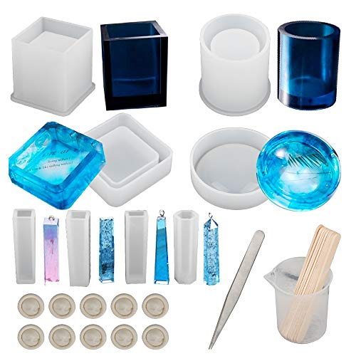 Epoxy Resin Silicone Molds, Resin Art Molds Include Round, Square, Cylinder, Pendant, for DIY Ashtray/Pen container/Pendant/Candle Soap Holder with measuring cylinder & Wood Sticks & 10 finger sleeves