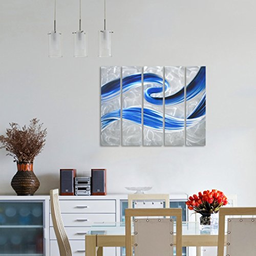 Pure Art Scent of Freedom Small Blue Abstract Metal Wall Art Decor Hanging Sculpture of 25 x 25 for Kitchen or Bedroom Modern Artwork of 4 Panels