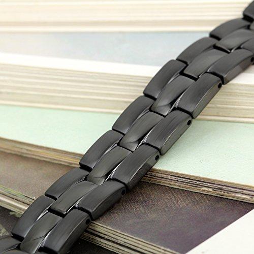 Flongo Bracelet Acier Inoxydable Pierre Magnétique Aimanté Manchette Personnalisé Fantaisie Bijoux Cadeau Large 12mm Couleur Noir pour Homme