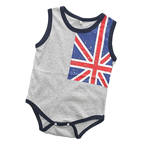 - Infant Baby Girl Boy Romper, US Flags Basic Tshirt Bodysuit for Newborn Patriotic Outfits Grey