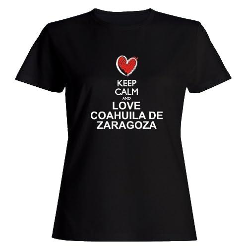 Idakoos Keep calm and love Coahuila De Zaragoza chalk style Maglietta donna