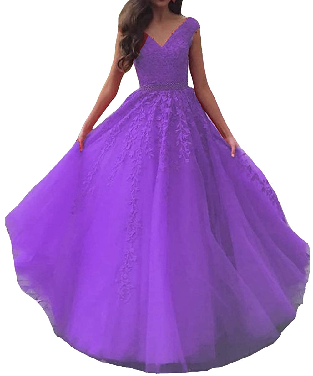 Lavender Lemai Women V Neck Beaded Lace Appliques Tulle Long Formal Evening Prom Dresses