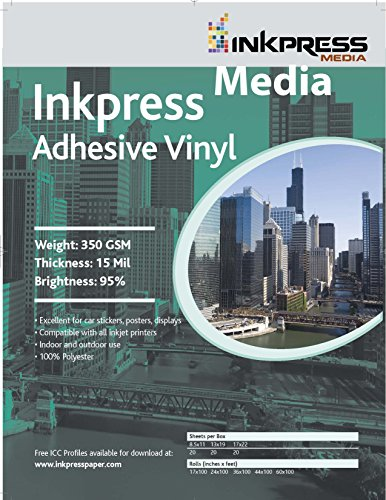 Inkpress Transparency Film - INKPRESS MEDIA 350 GSM, 15 Mil, 95 Percent Bright Paper (#AV851120)