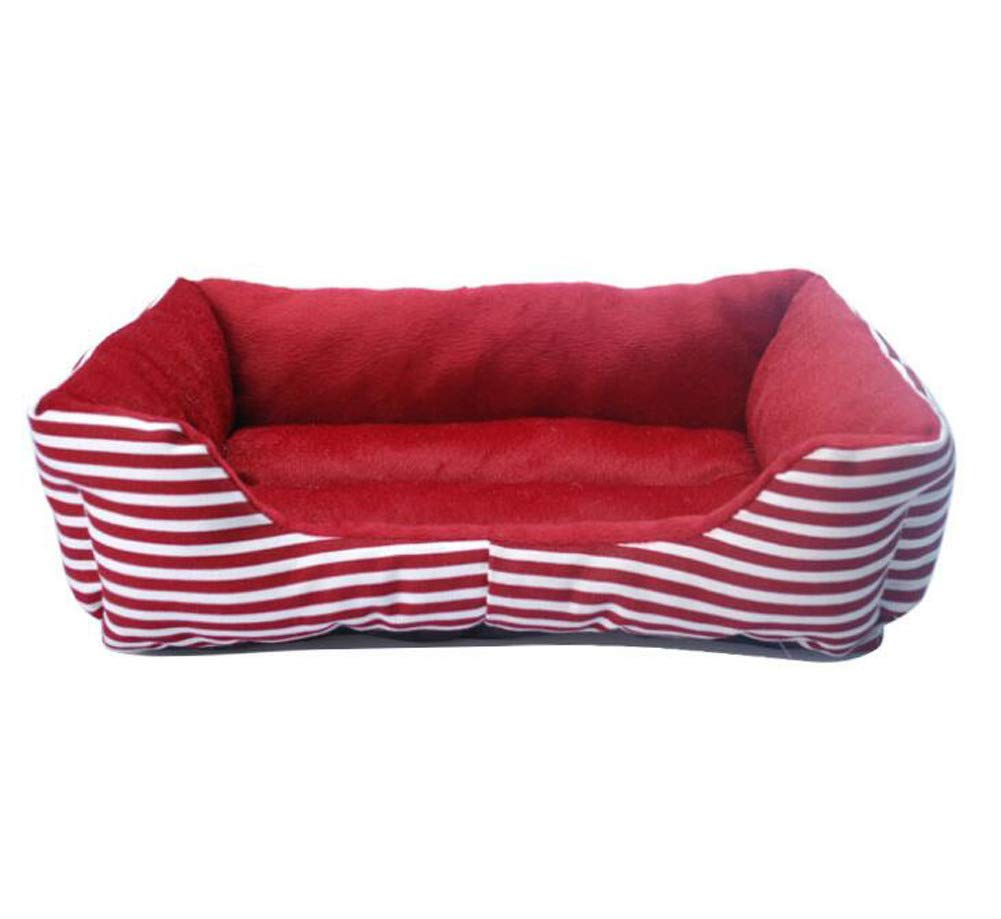 Red Small Red Small Red and White Striped Pet Nest Removable Washable Four Seasons Universal Rectangular Small Medium Dog Cat Litter Mattress Villa Warm,Red,S
