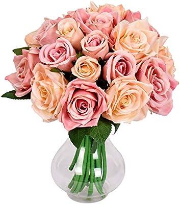 Famibay Ramo de Fores Rosas Artificiales Seda 2 Piezas Rosas Ramo ...