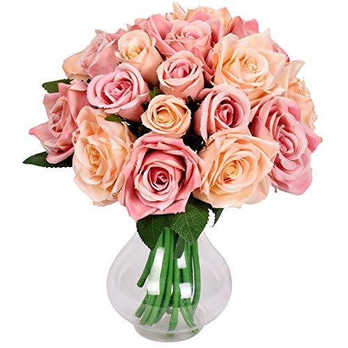 Famibay Ramo de Fores Rosas Artificiales Seda 2 Piezas Rosas Ramo de Novia para Hogar Boda Centro de Mesa Decoracion